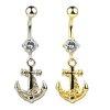 Anker Silber Gold Bauchnabel Piercing Schmuck mit Kristall