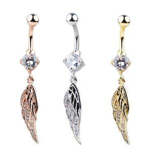 Flügel mit vielen Kristallen Bauchnabel Piercing...