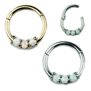 1,2mm Septum Clicker mit 3 synth. Opal Steinen Segment...