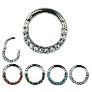 1,2mm Septum Clicker mit Bunten Kristallen Segment Ring...