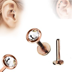 Rosegold Labret Kristall Flach