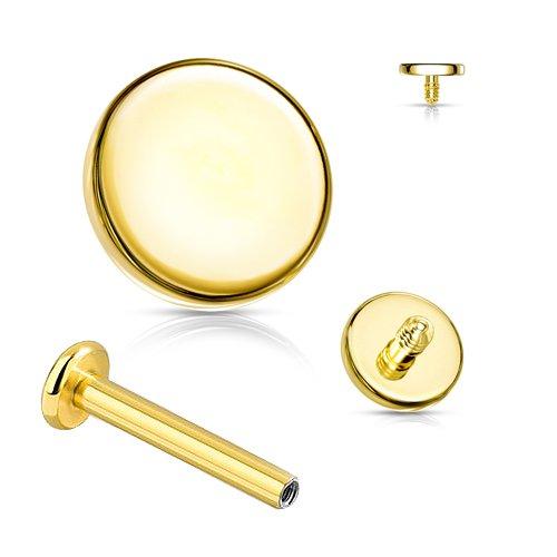 Labret Gold Innengewinde runde Platte