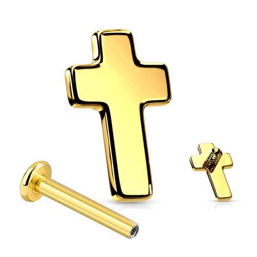 Labret Innengewinde Gold Kreuz Flach