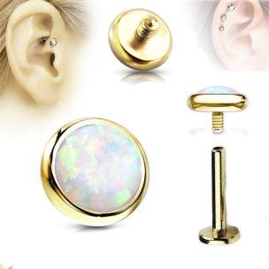 Gold Labret Opal Stein Flach