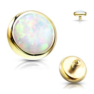 Gold opal Piercing dermal anchor aufsatz