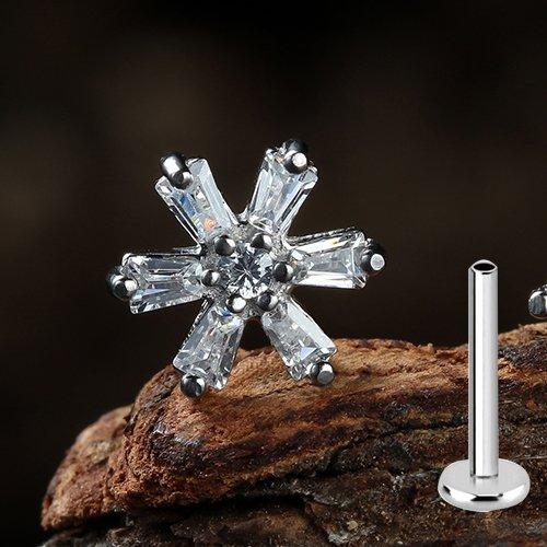 Labret Stecker mit Kristall Blume
