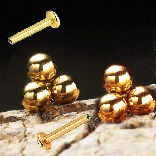 3er Kugeln Dreieck Gold Rosegold Micro Labret Ohr Lippen Piercing Stecker