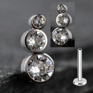3er Kristall Kugel Labret Innengewinde Ohr Stecker