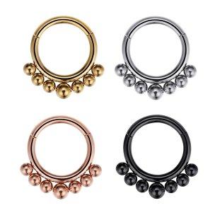 Septum Clicker Ring Kugeln Rosegold und Silber