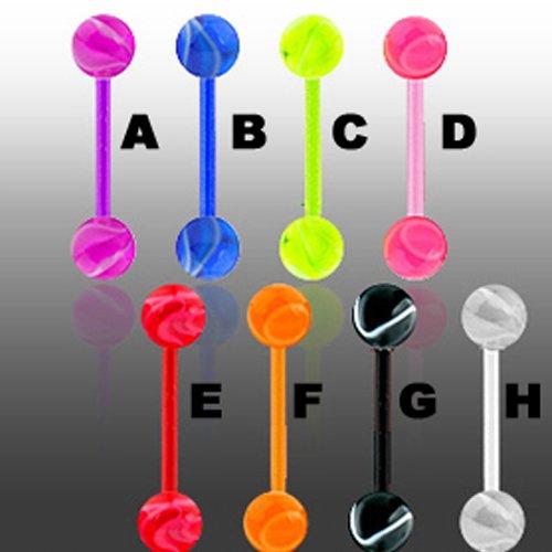 UV Marmor Kunststoff Piercing Barbell Zungenpiercing Stecker