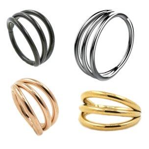 3 Ringe Clicker Ohr Helix Piercing