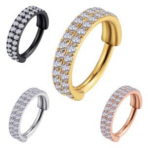 Clicker Ring 2 Kristallreihen Ohr Helix Piercing
