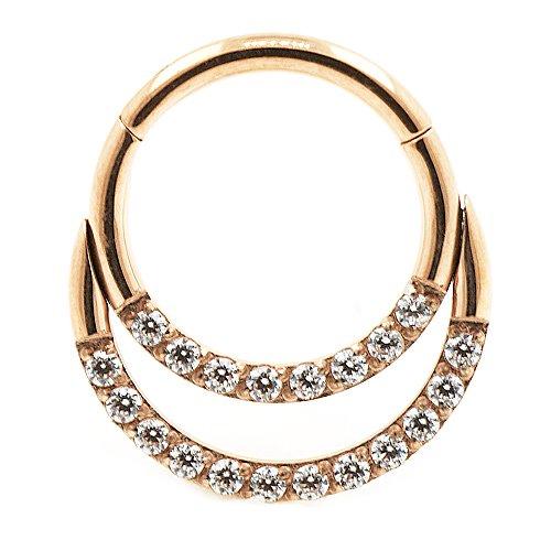 Clicker Ring 2 Kristall Bogen Ohr Helix Piercing