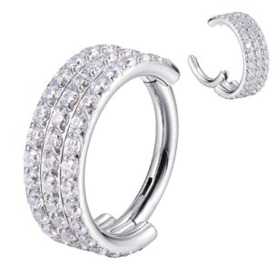 Clicker Ring 3 Kristallreihen Ohr Helix Piercing