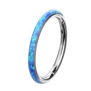 1,2mm Clicker Ring Opal Rand Blau