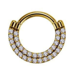 Clicker Ring 2 Kristall Reihe glitzer  Ohr Helix Piercing