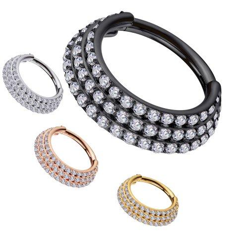Clicker Ring 3 Kristallreihen versetzt Ohr Helix Piercing