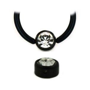 Schwarze Kugel Flatback mit kristall für Lippenbändchen