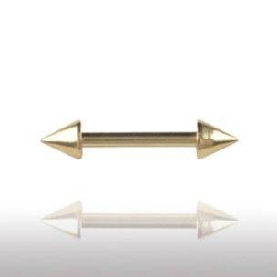 Nippelpiercing gold 1,2mm mit Spitzen Augenbrauenpiercing