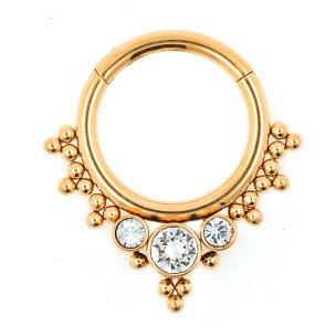1,2mm Rose Gold Boho Septum Clicker Ring mit Kugeln