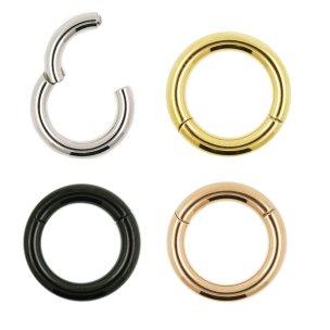 Segmentring Clicker 2mm in Silber Gold Schwarz
