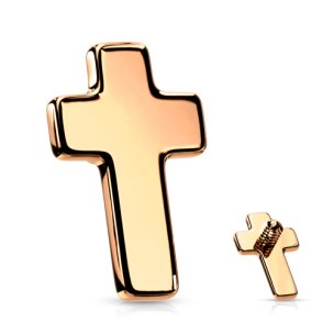 Labret Innengewinde Rosegold Kreuz Flach