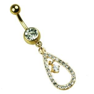 Gold Tropfen mit Kristall Bauchnabel Piercing