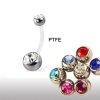PTFE-Stab Mini Bauchnabel Piercing Doppel Flat Kristall Kugel