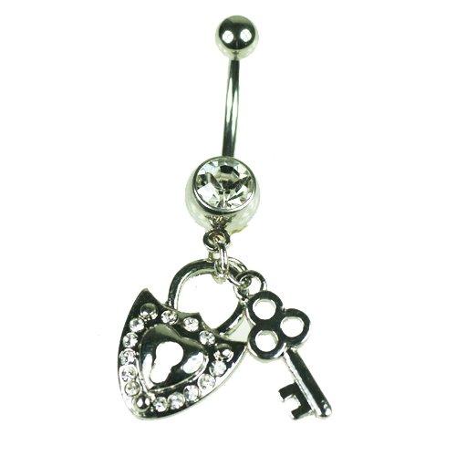 schloss mit schlüssel herz bauchnabel piercing