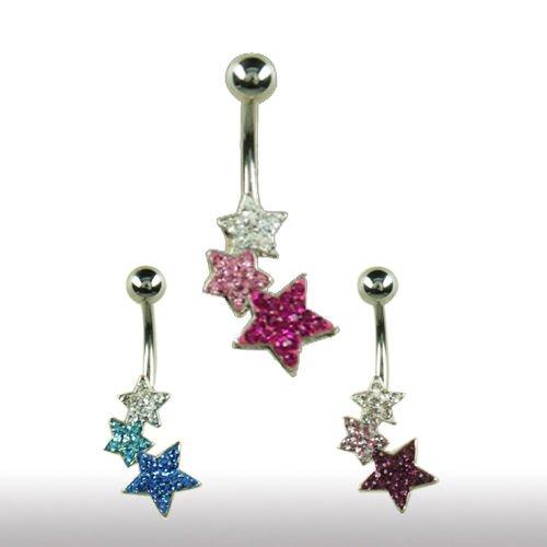 Bauchnabel Piercing Schmuck 3 Sterne viele Kristalle