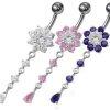 Bauchnabel Piercing Schmuck Kristall Blume mit Ketten