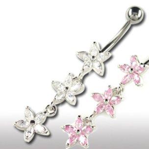 Bauchnabel Piercing Schmuck mit 3 Kristall Blumen