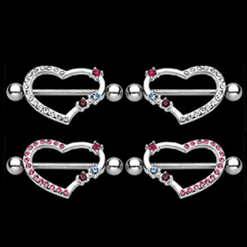 Brustpiercing Set Herz Kristalle Mehrfabrig 2 Stück