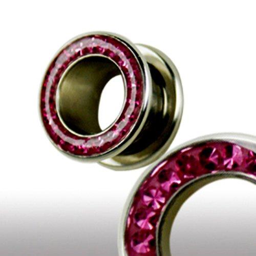 Flesh Tunnel mit kristallen in Pink Multiglitzer