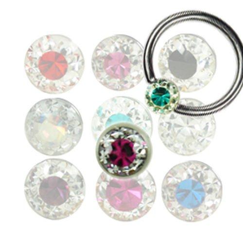 Piercing klemmkugel mit multi kristall Kugel