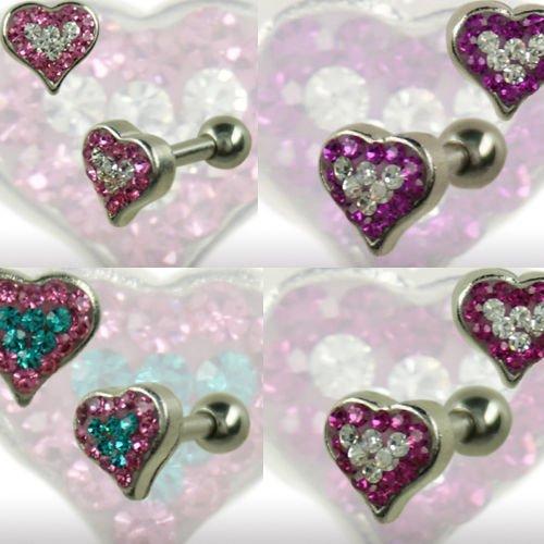 Großes Herz viele Kristalle Ohr Stecker