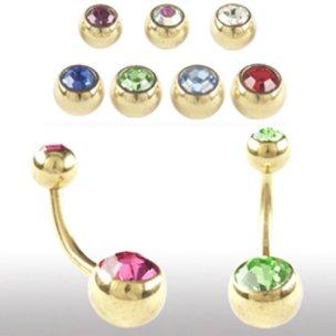 Bauchnabel Piercing Gold mit 2 Glitzerkugeln