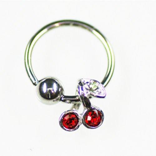 Ohr Piercing Ring mit Kirsch Anhänger