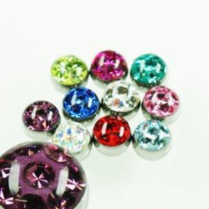 Piercing Kugel Stahl mit multi kristall kugel
