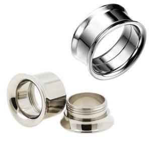 Silber Flesh Tunnel Ohr Piercing schmaler Rand