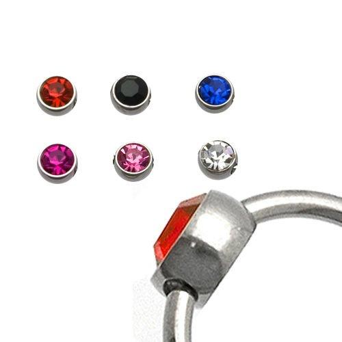 Titan Piercing Kugel Flatback mit kristall für klemmring