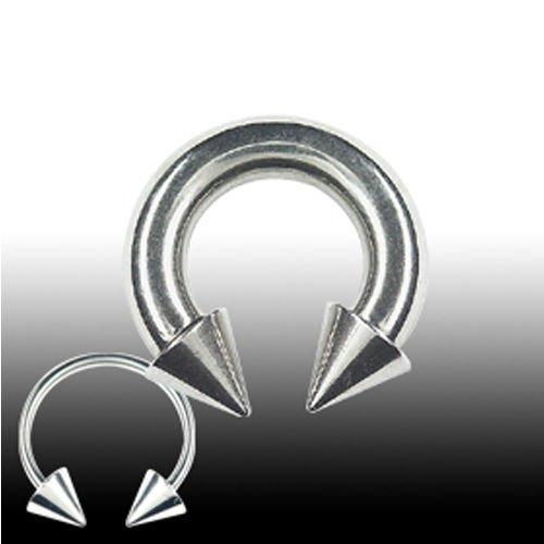 Hufeisen Piercing Titan mit Spitzen Brustwarzenpiecing