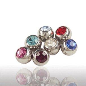 Titan Klemmkugel mit Kristall für Piercing Ringe