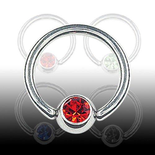 1,0mm Ohr Piercing Ring Titan mit Glitzer