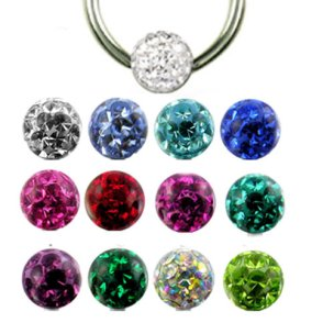 1,0mm Piercing Ring 3mm Epoxy Multistrass rundum Kristall...