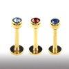 madonna piercing Gold Labret 1,2mm mit Glitzer