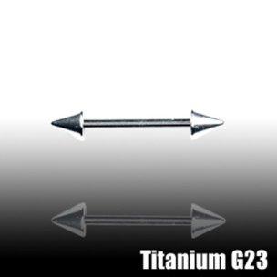 Nippelpiercing Titan barbell 1,6mm mit Spitzen