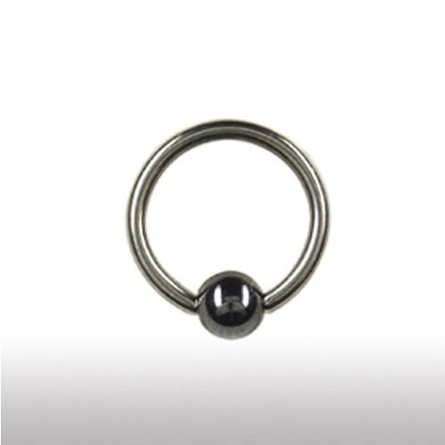 1,6mmTitan Piercing Ring mit Hämatit Kugel - PIERCING-EXPRESS