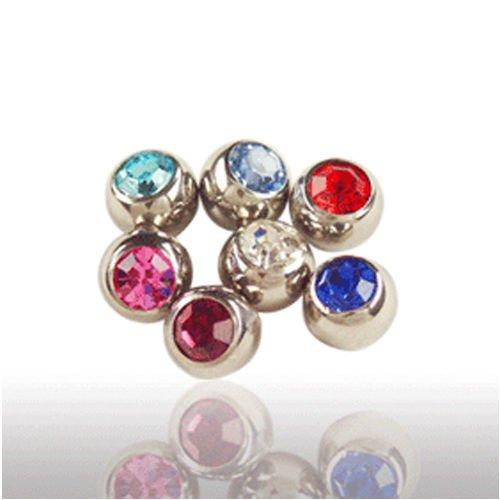 piercing einzelteile mini Kugel mit Kristall