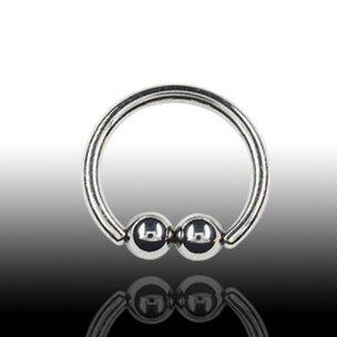 Septum Piercing Ring mit 2 Kugeln